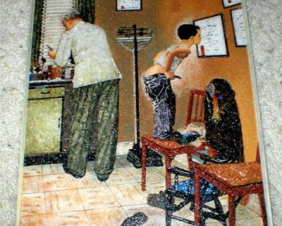 """Gem Stone Art - Norman Rockwell - """"Doctor's Office - Before the Shot"""""""