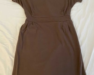 Brown mini dress with ties at the back, size M