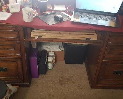 Heavy dark mahogany or oak office desk