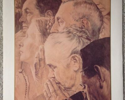 """Norman Rockwell """"Freedom to Worship"""" Vintage Print - No. 11954 - 1990"""