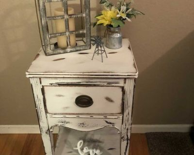 FARMHOUSE ANTIQUE SOLID WOOD NIGHTSTAND OR ACCENT TABLE