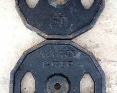 2 Vintage Marcy Grip Olympic 50 lb Weight Plates
