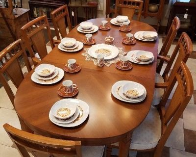 Large Family Dining Table & 8 Chairs