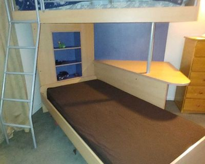 Double twin bunk bed with desk and shelf