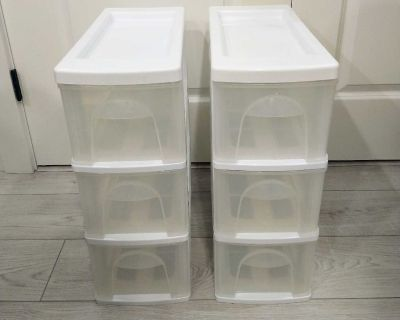 3 drawers storage containers (2) in white/clear