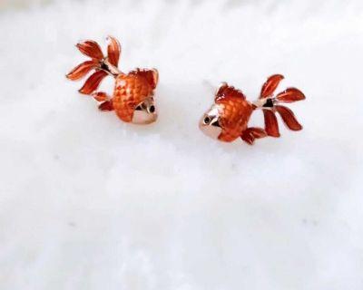 18K Gold Vermeil Goldfish Earrings