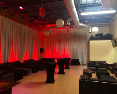 West Midtown loft style Lounge with contemporary decor, lighting, stage, DJ booth, mirrors, high ceilings, kitchenette, and more !, Atlanta, GA