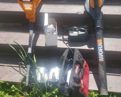 Worx cordless battery operated weed eater/edger and leaf blower.