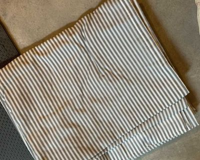 Grey pin striped curtains