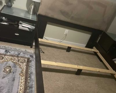 Queen bed frame with 2 nightstand
