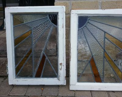 Two Vintage Stained Glass Windows Sun Burst Pattern With Hooks For Hanging