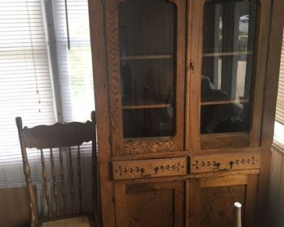 Antique Oak Hutch China Cabinet and Chairs