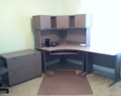 Desk, grey corner multi pieces
