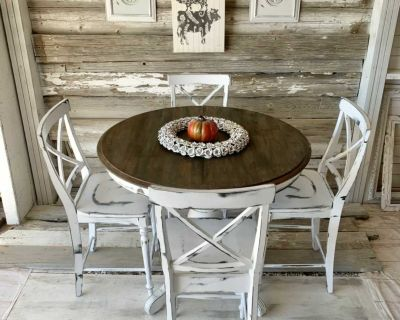 Shabby tall kitchen table and 4 chairs