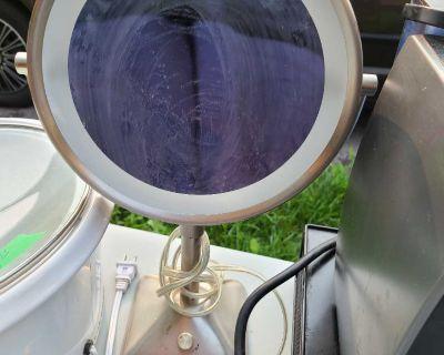Yard Sale- mirror, crystal bowl, plant stand, microwave