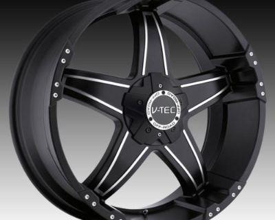 """18"""" V-tec 395 Black Wheels Rims Ford F250 F350 250 350"""