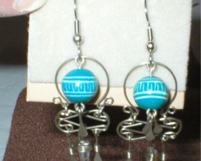 Silvertone Dangling Earrings with Crystal -Turquoise & White Ball -New