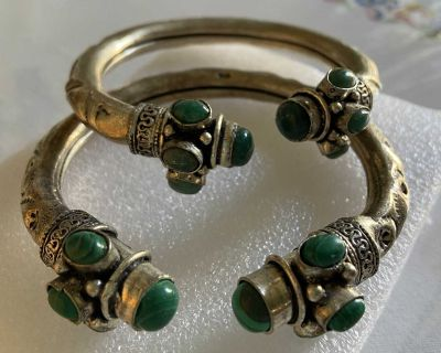 Bracelets with green stones