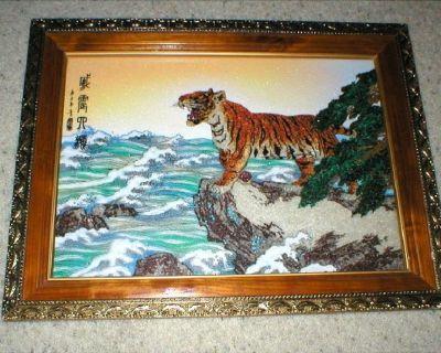 Rare Gem Stone Art - Tiger - Asian Writing - Antique Gold Frame