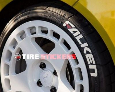 """Falken Tire Letters W/ Red Dash - 1.5"""" For 14"""" 15"""" 16"""" (8 Decals)"""