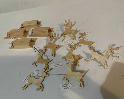 Handmade Wood Ornaments - Sled & Reindeer: 12 for ONE Price