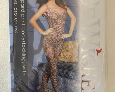 leopard print bodystocking - crotchless