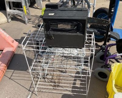 Fans, ladders, tools, Box lots with kitchenware, household items, linens and more for auction!