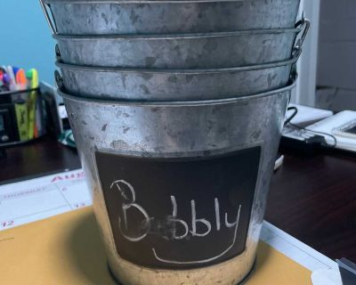 5 metal pails with chalkboard writing area.
