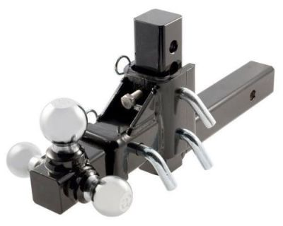 """3 Way Tri Ball Adjustable Solid 2"""" Receiver Triple Drop Turn Tow Hitch Mount"""