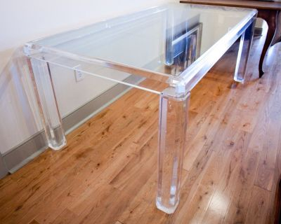 Exquisite Karl Springer style contemporary Lucite table glass top