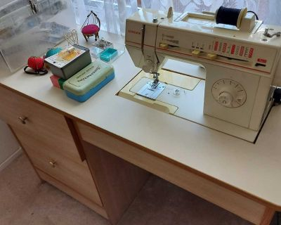 Vintage Singer Sewing Machine with Built in table and supplies