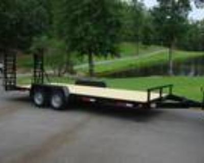 Flatbed and Equipment or Car Trailer, 3.5 Ton 7ft X 20ft Tandem Flip Up Ramps!