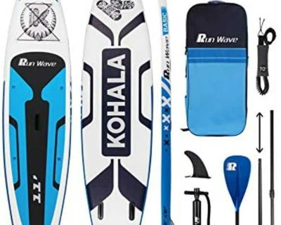 NEW IN BOX Inflatable Stand Up Paddle Board 11' 33'' 6'' Non-Slip Deck and accessories