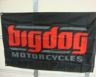 Big Dog Motorcycles Black Signature Logo Flag Indoor K-9 Chopper Pitbull Mastif