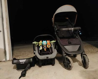 Safety first car seat, base and stroller