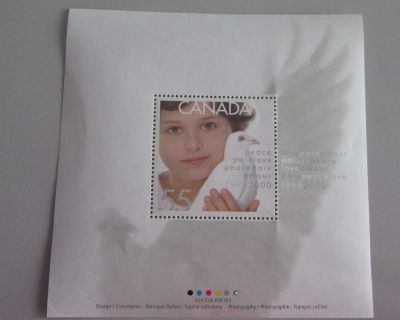 1813i Canadian Postage Stamp Child and Dove Of Peace Souvenir Sheet 1999