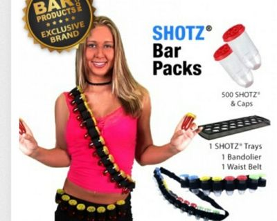 Shot glass bandolier, belt, serving tray, and shot glasses with lids