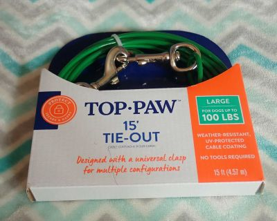 Brand New in Package! 15' Top Paw Tie-Out for Large Dogs up to 100 lbs! Weather-Resistant, UV-Protected Cable Coating. No Tools Required!