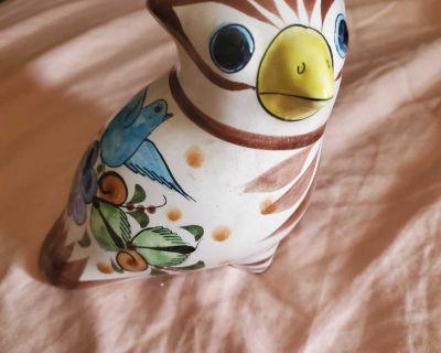 Vintage tonala Mexican bird pottery signed