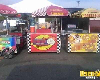 Multi-Unit Food Vending Push Cart + Tent Operation w/ 16' Enclosed Trailer