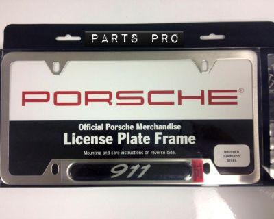 Genuine Oem Porsche 911 License Plate Frame Brushed Stainless Steel