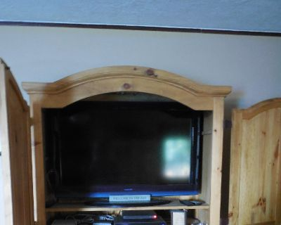 """Entertainment Center holds an 42"""" and 30 inch high flat screen. Storage and 2 drawers"""