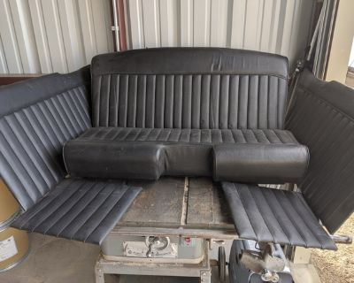Black Leather Tuck and Roll Bench Seat