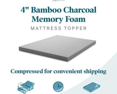 """4"""" Bamboo Charcoal and Aloe Infused Memory Foam Topper - Twin Size"""