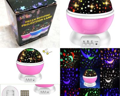 Night Light Stars & Moon Projector - USB and battery-powered (Pink)