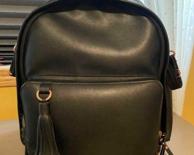 Skip hop black leather diaper bag/backpack
