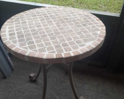 Beautiful iron cement looks mosaic table. Plant stand. Indoor or outdoor