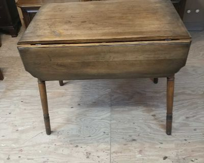 Vintage Drop Table. Restained and Polished. 37x22x30. Open 35x41x30