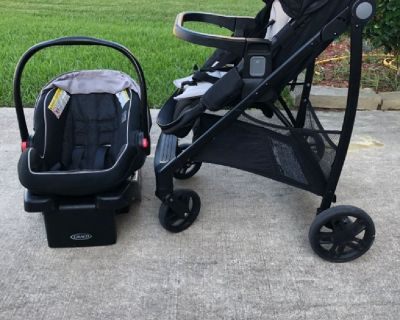 Car seat, base, and stroller