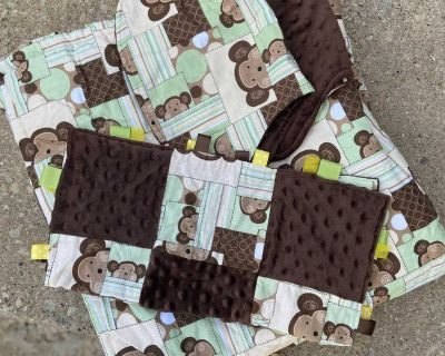 Monkey Quilt, Burp Cloths, and Lovey